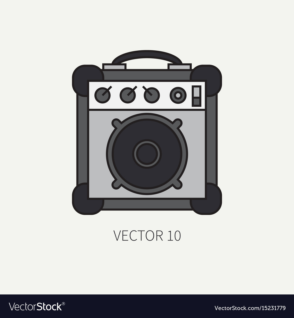 Line flat color icon musical equipment