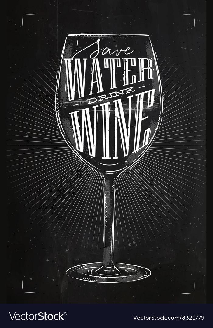 Poster drink wine chalk