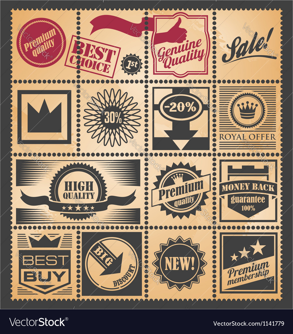 Set of retro coupons labels and tickets vector image