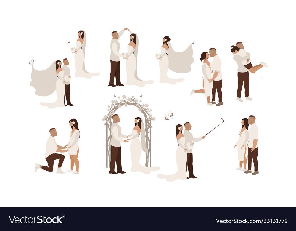 Wedding scene set groom bride