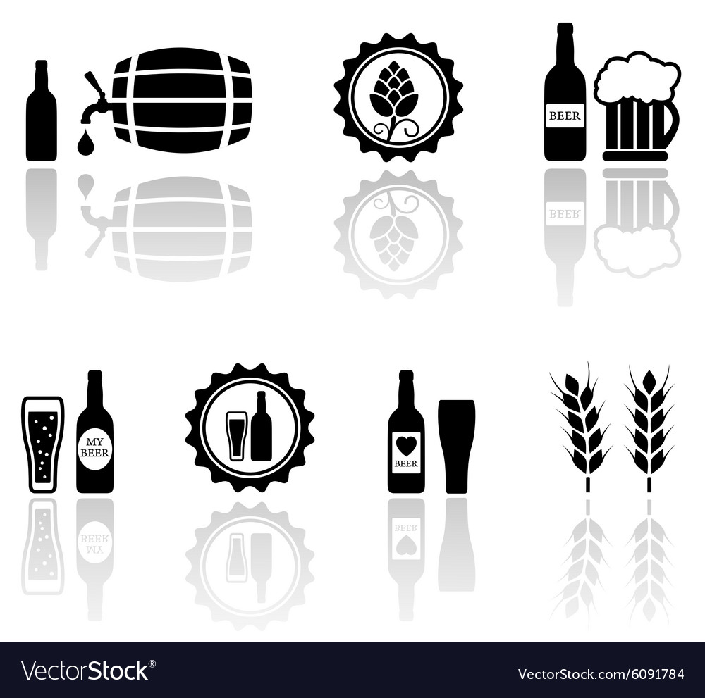 Beer isolated objects set with mirror reflection vector image
