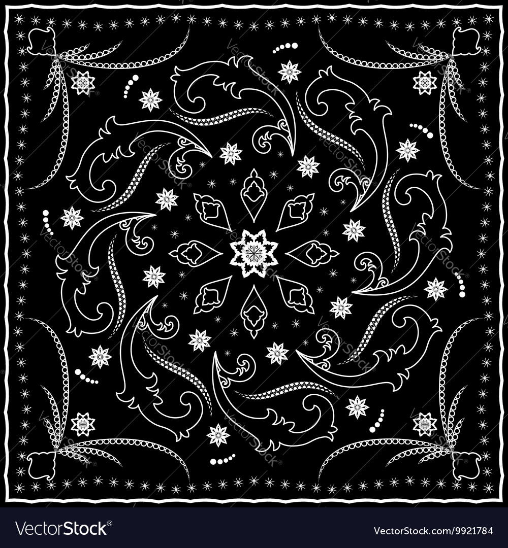 Black handkerchief with white ornament vector image