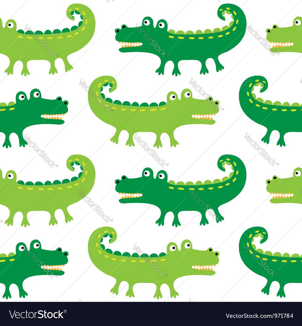 Cartoon crocodiles seamless pattern vector image