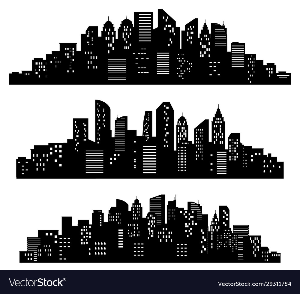Cityscape silhouette city buildings night town