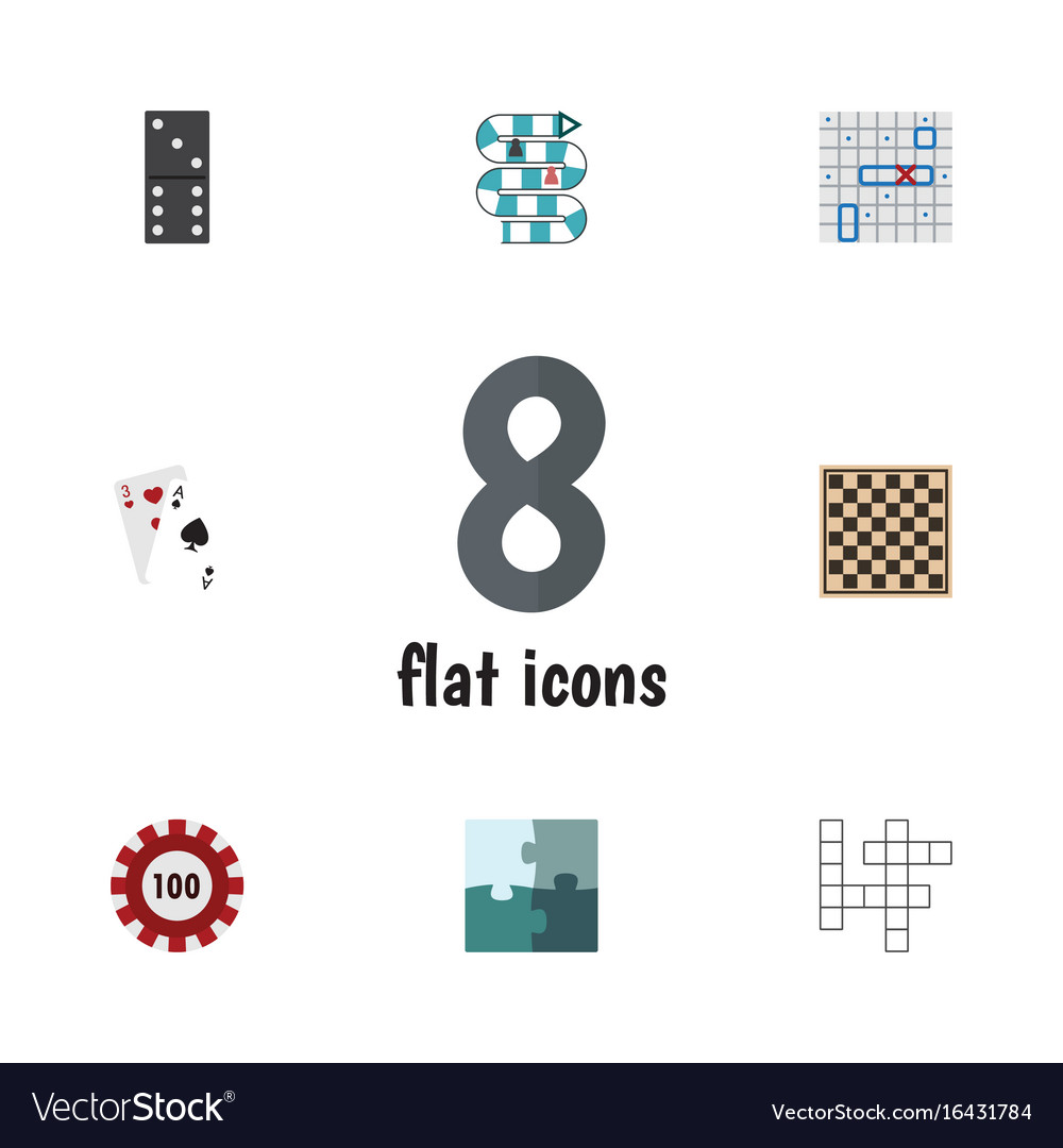 Flat icon games set of guess sea fight jigsaw vector image