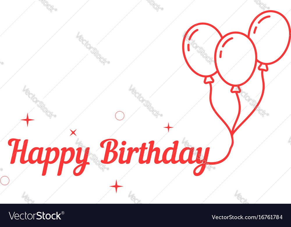 Happy birthday with thin line balloon