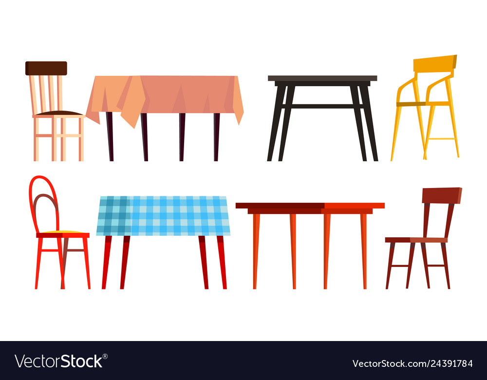 Home table chair icon set wooden dinner