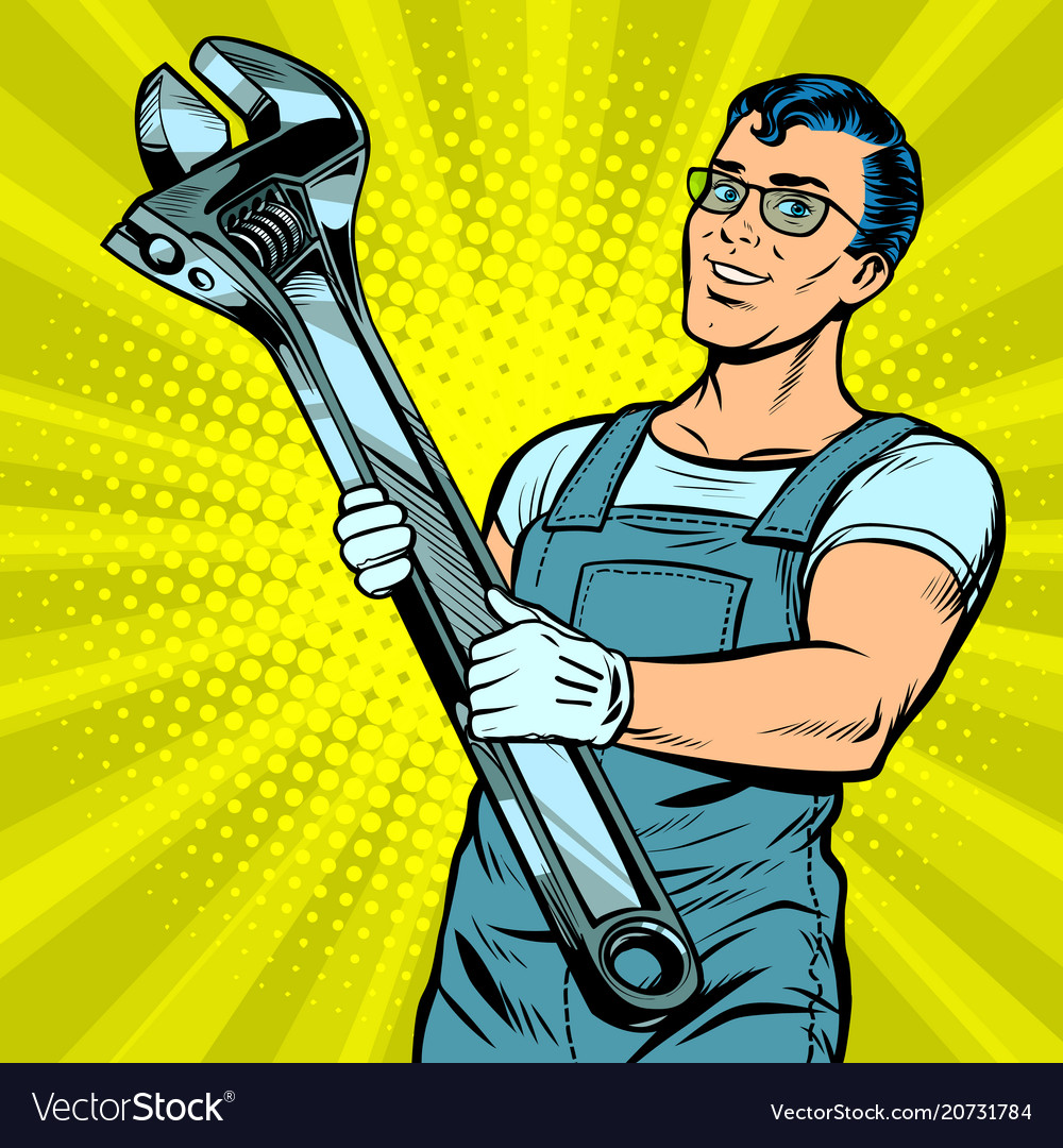 Man repairman with a wrench vector image