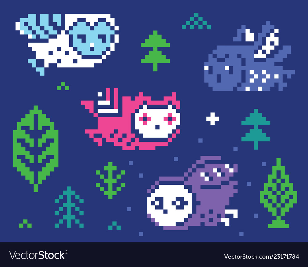 Owls and trees - pixel