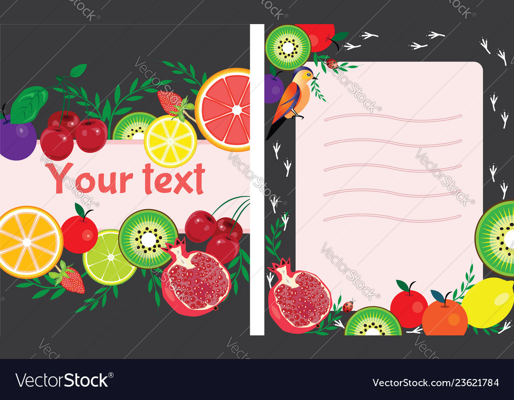 Postcard Front And Back With Bright Fruits