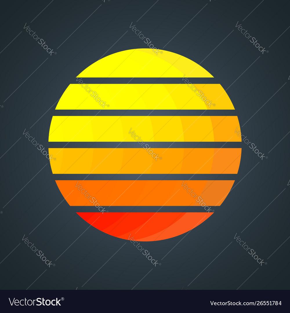 Retro sun with colorful gradient stripes vintage