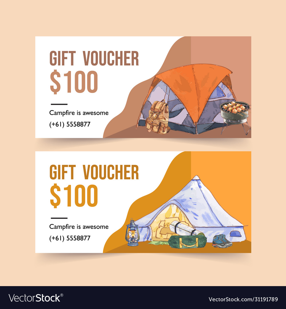 Camping voucher design with backpack lantern
