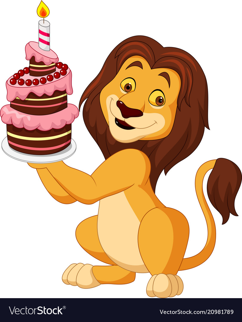 Amazing Cartoon Lion Holding Birthday Cake Royalty Free Vector Image Funny Birthday Cards Online Overcheapnameinfo