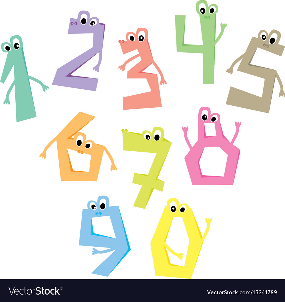 Funny numbers cartoon cute characters