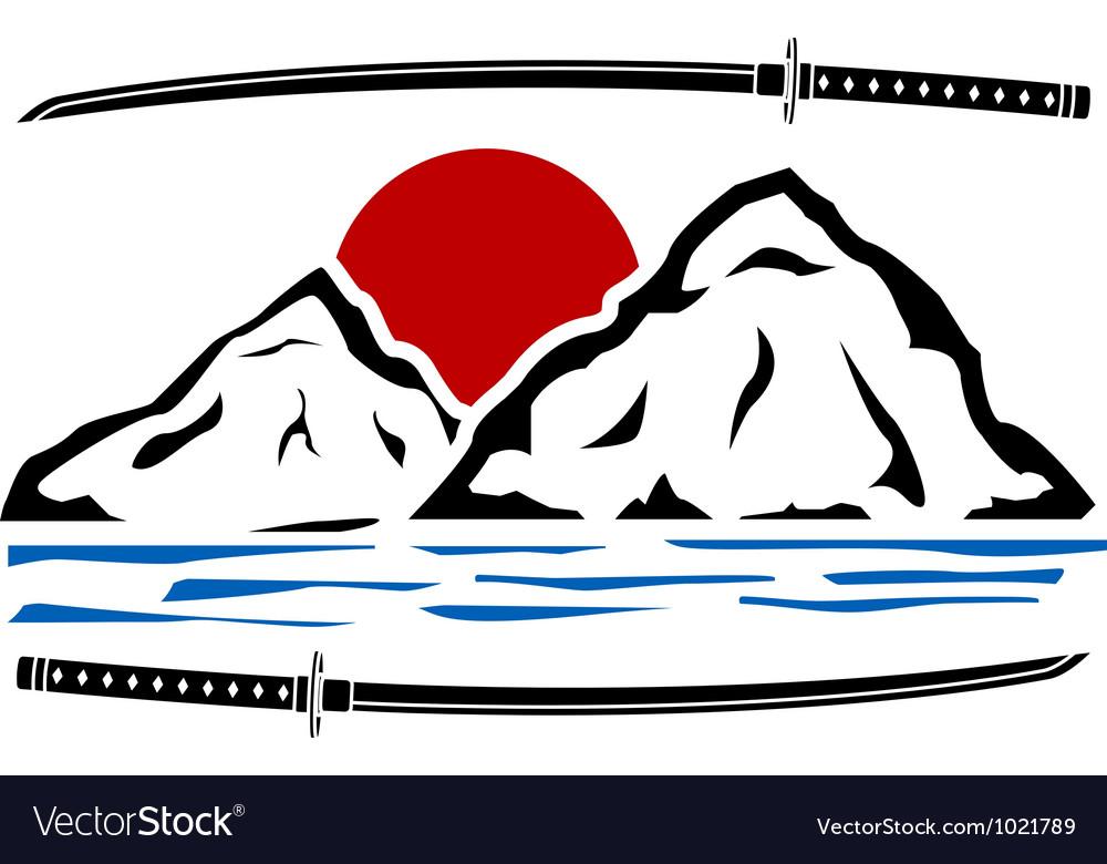 Japanese sunrise stencil vector image