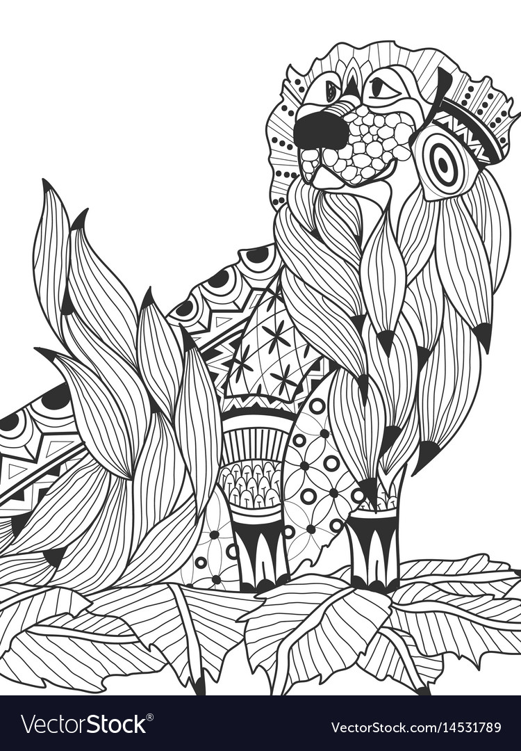 Labrador retriever in the leaves coloring book for
