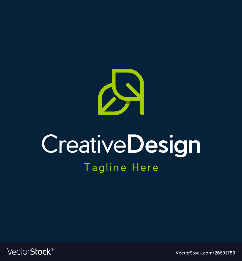 Leaf green line creative business logo