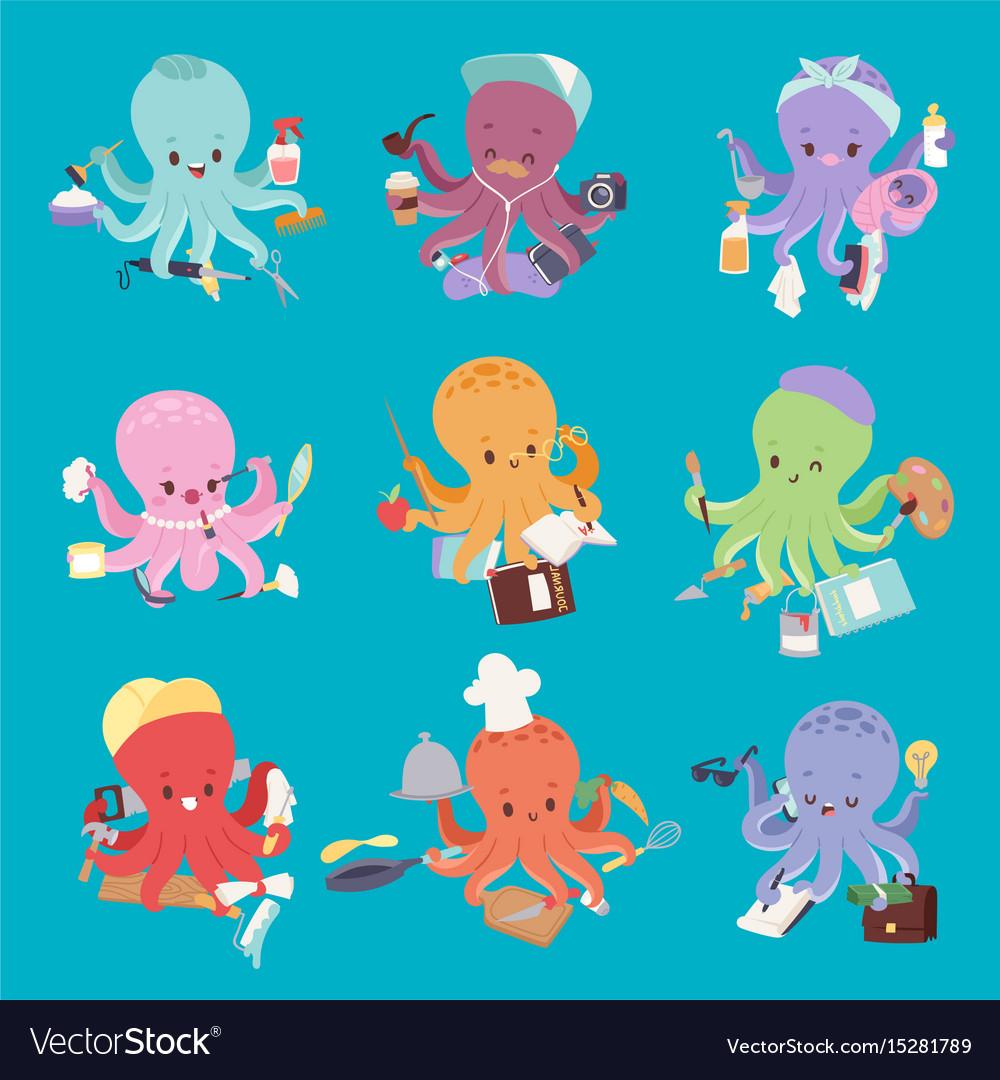 Octopus mollusk ocean coral reef animal character
