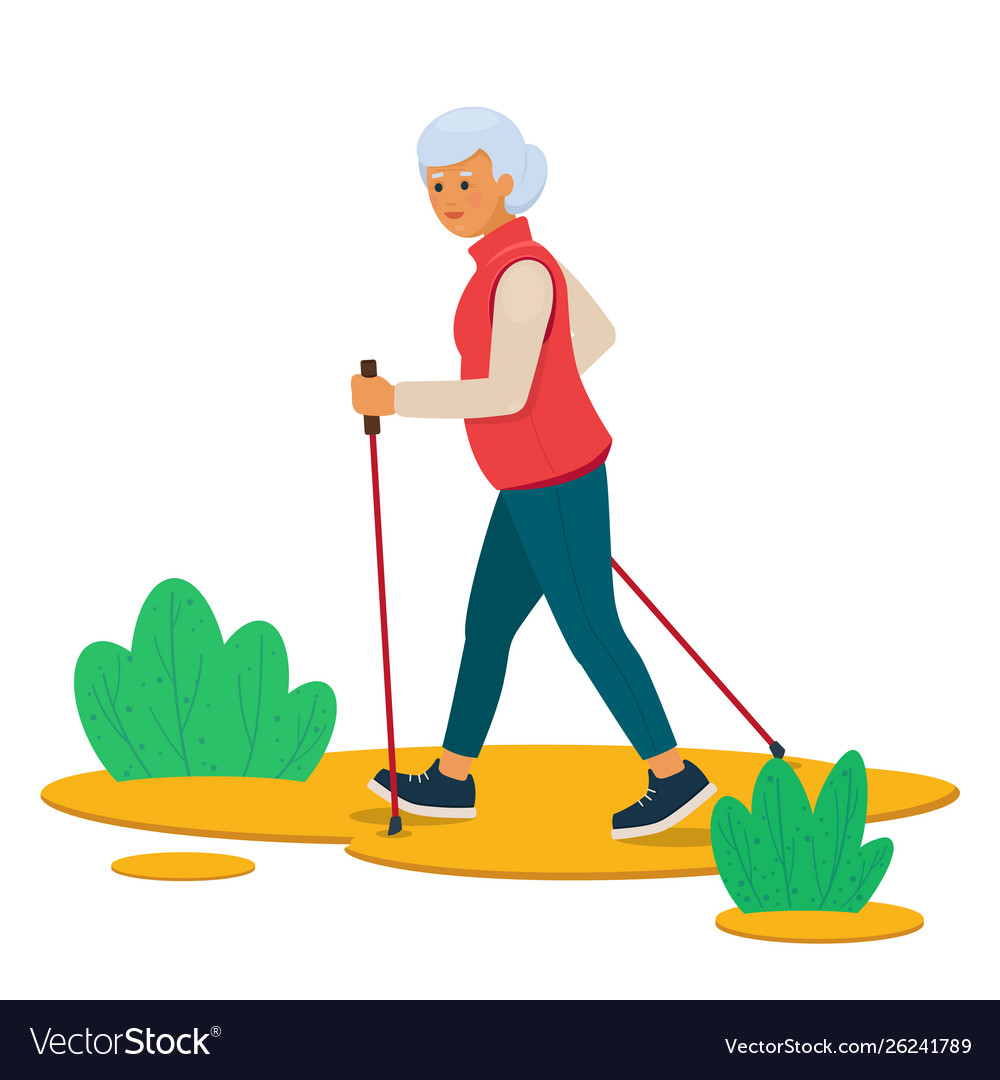 Senior woman nordic walking in nature