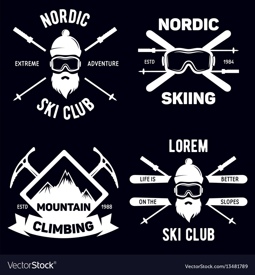 Set of ski club vintage mountain winter badges