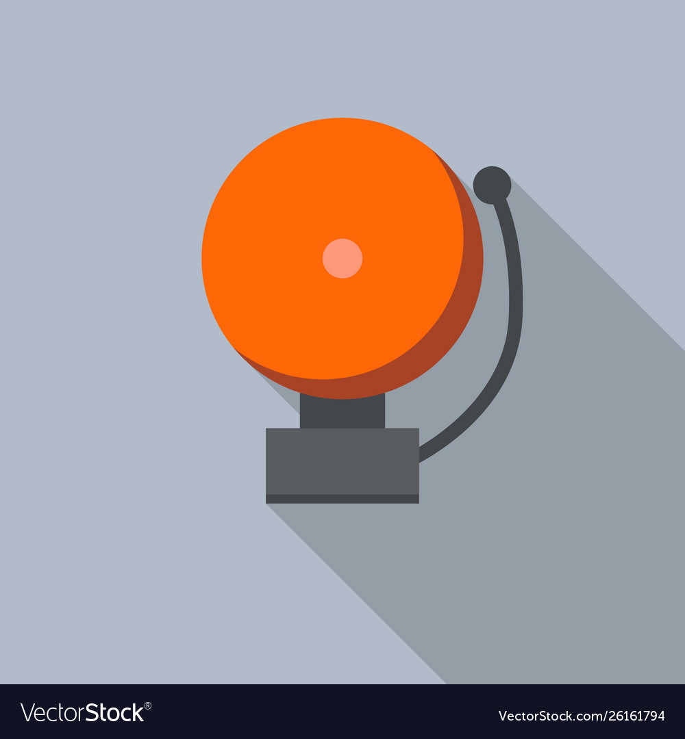Alarm Siren Ring Icon Flat Style Royalty Free Vector Image