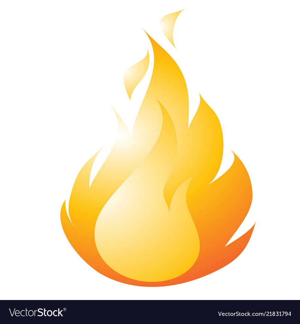 Burning fire drawing in a flat style isolated on a