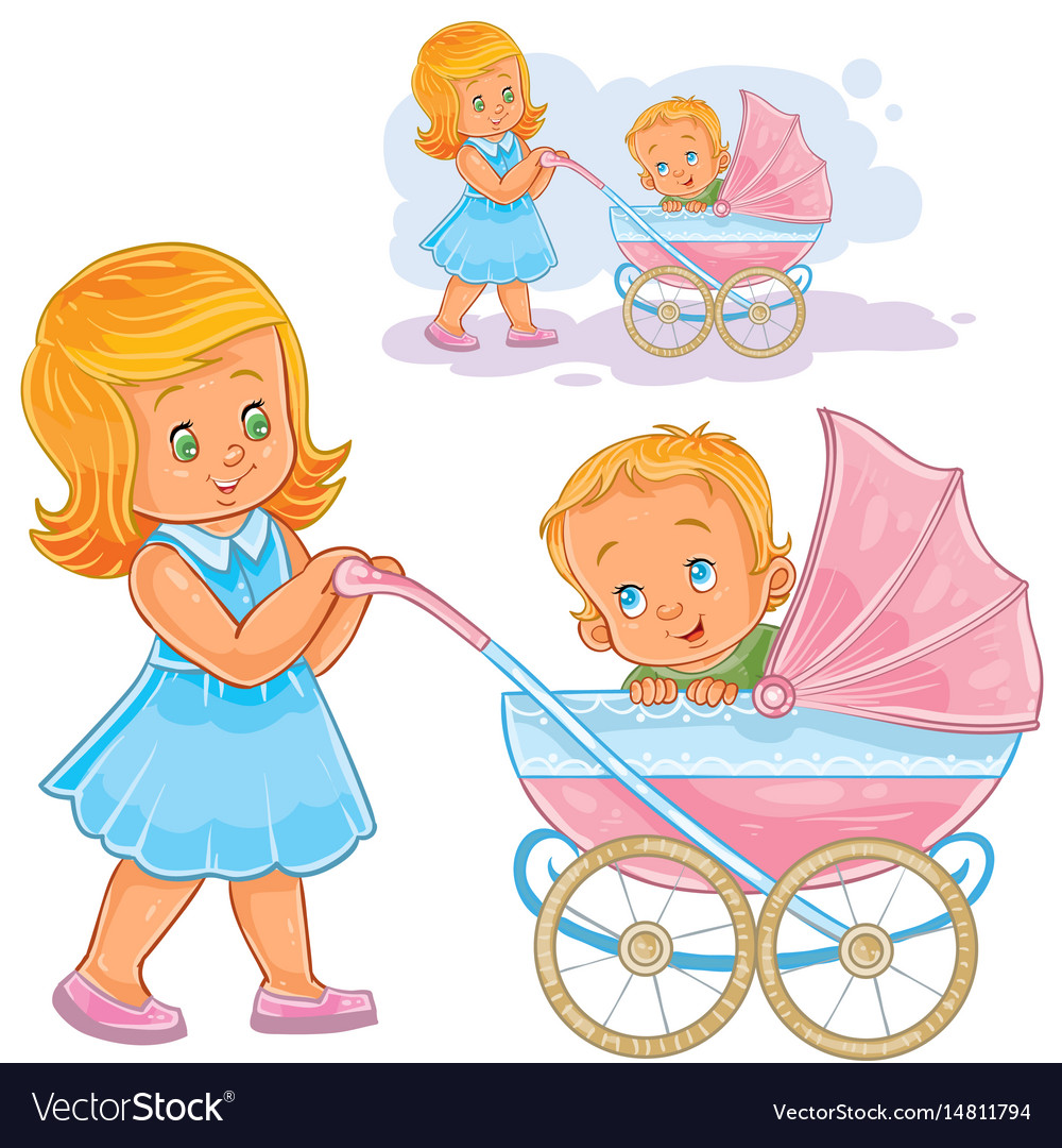 clip art older sister wheeled royalty free vector image