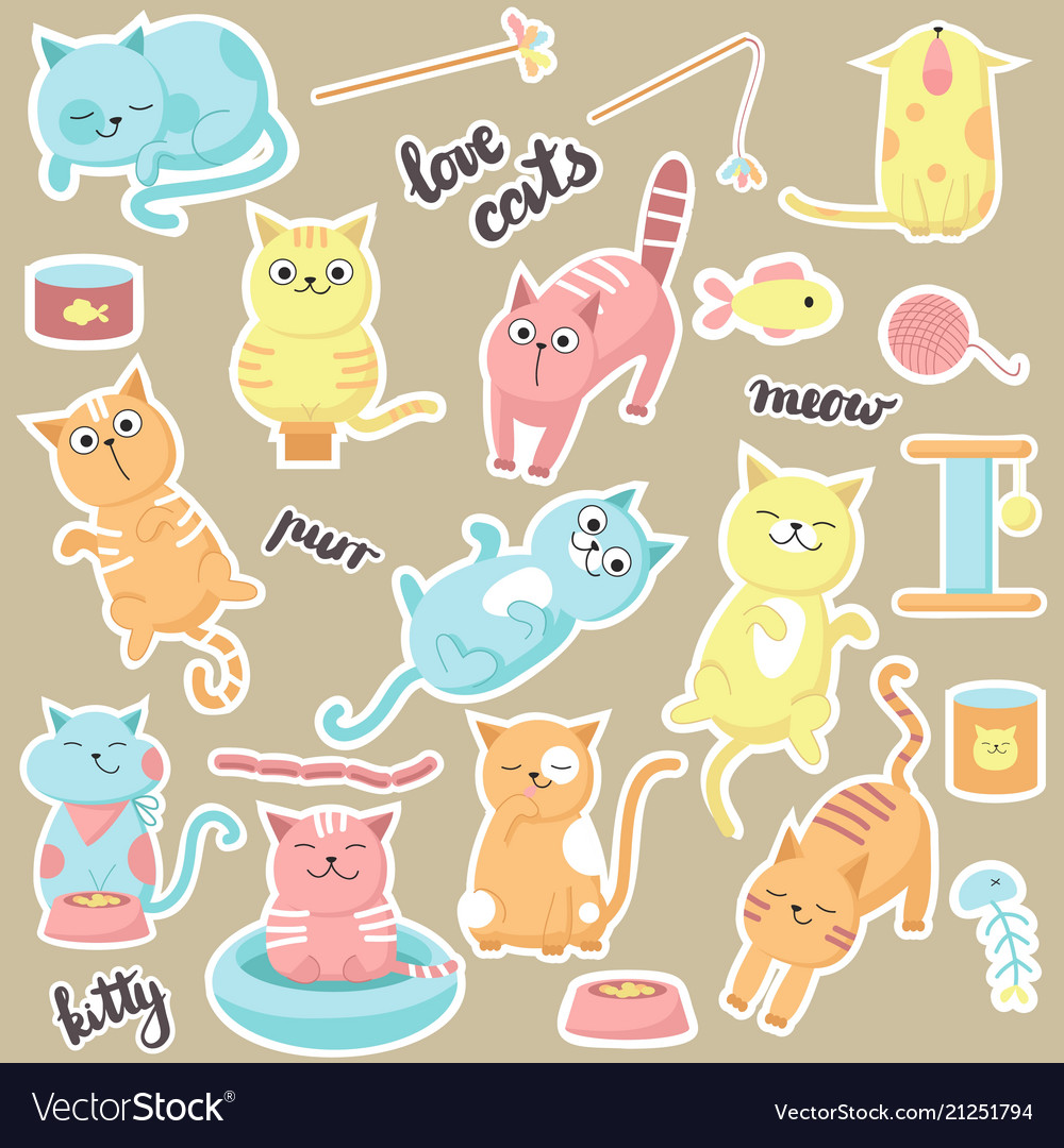 Cute cats stickers hand drawn