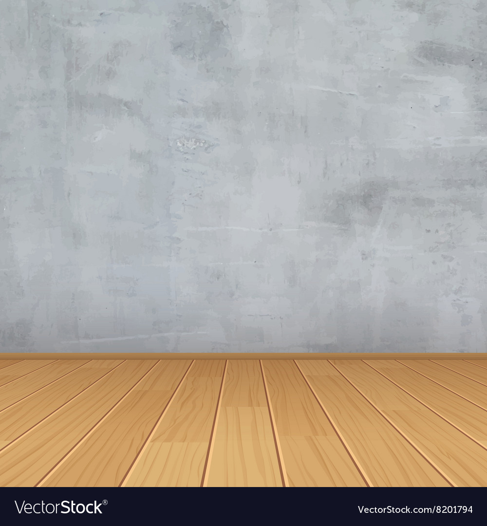 Empty Room With Concrete Wall And Wooden Floor Vector Image