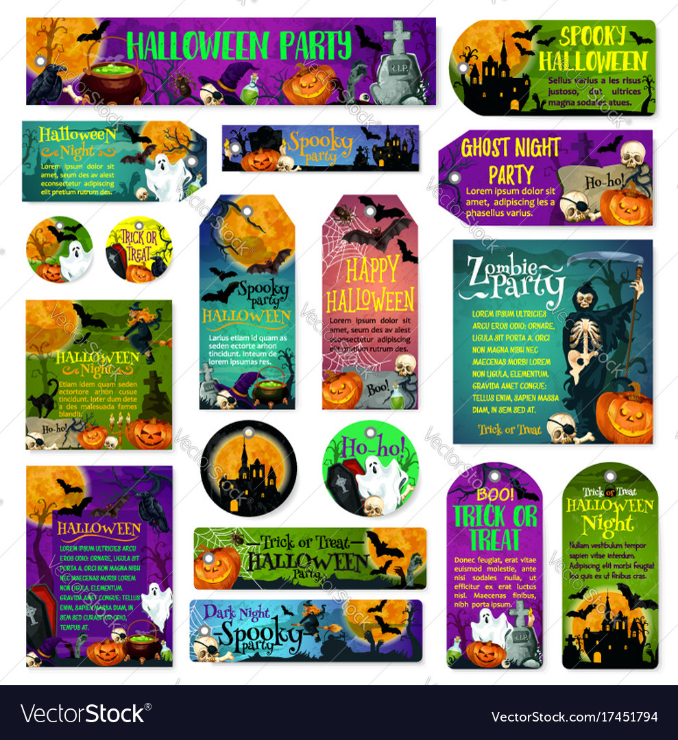 Halloween holiday trick treat greeting cards vector image m4hsunfo