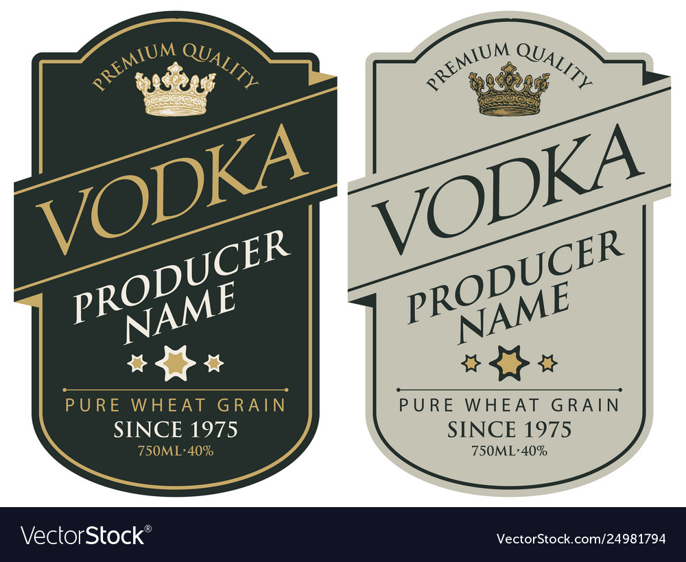 Labels for vodka with inscriptions and crown