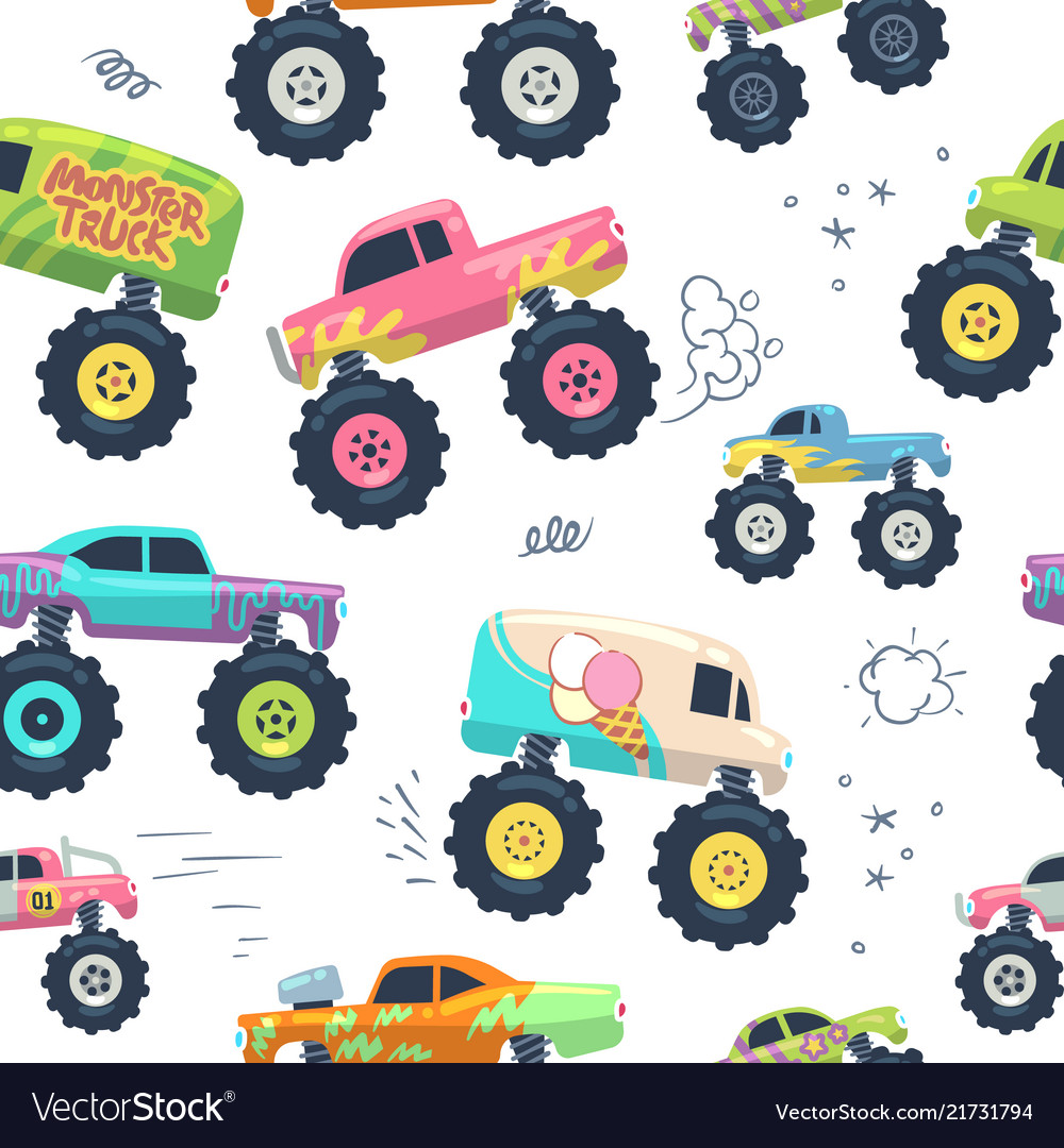 Monster cars seamless pattern kid trucks with big