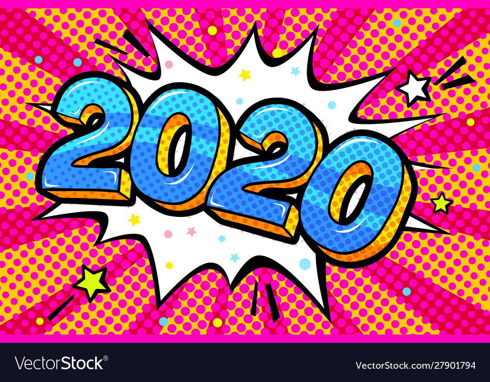 New year greating card blue numbers 2020 in word