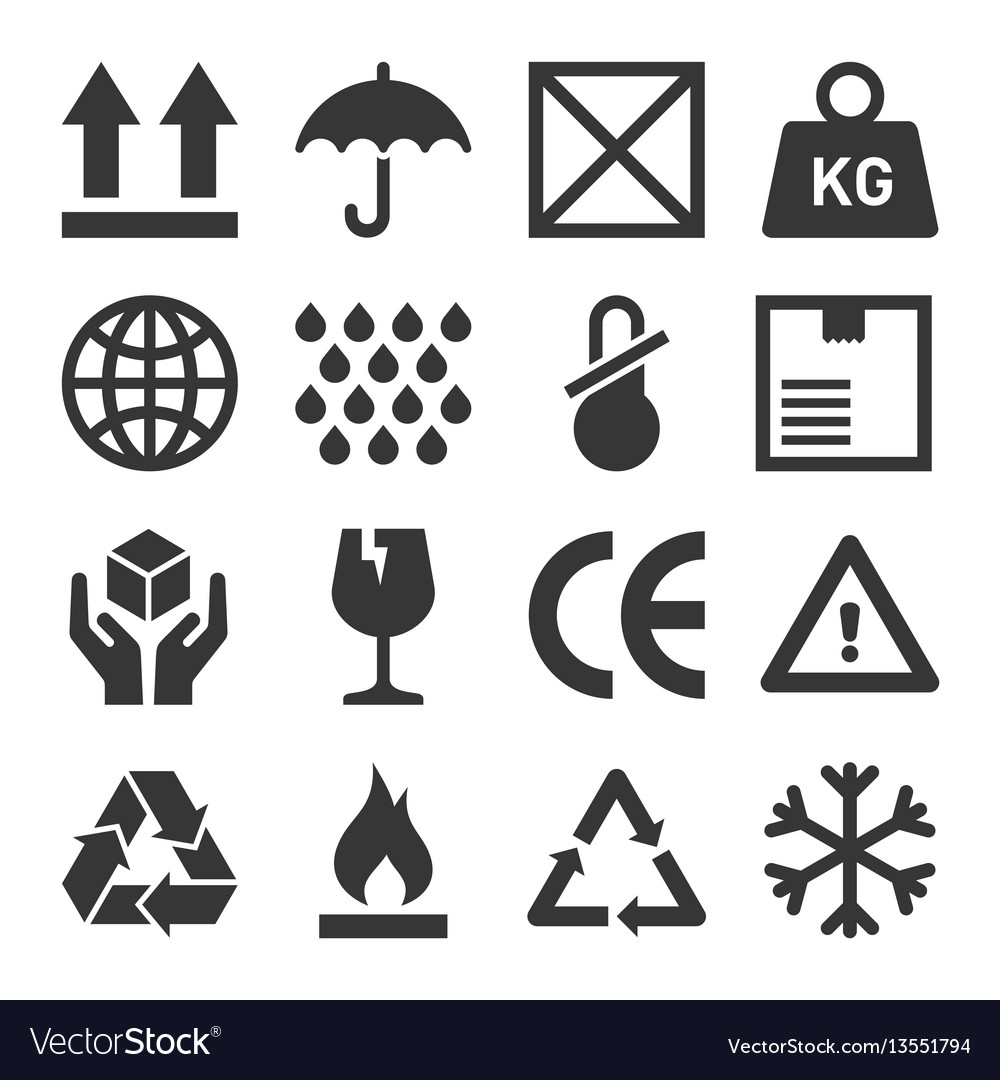 Packaging and shipping symbols set