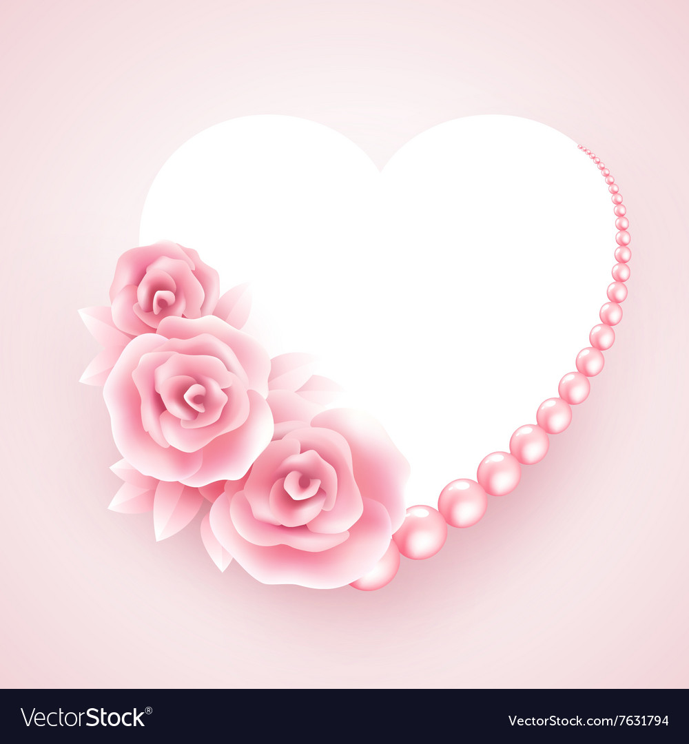 Pink roses pearl and heart shap frame