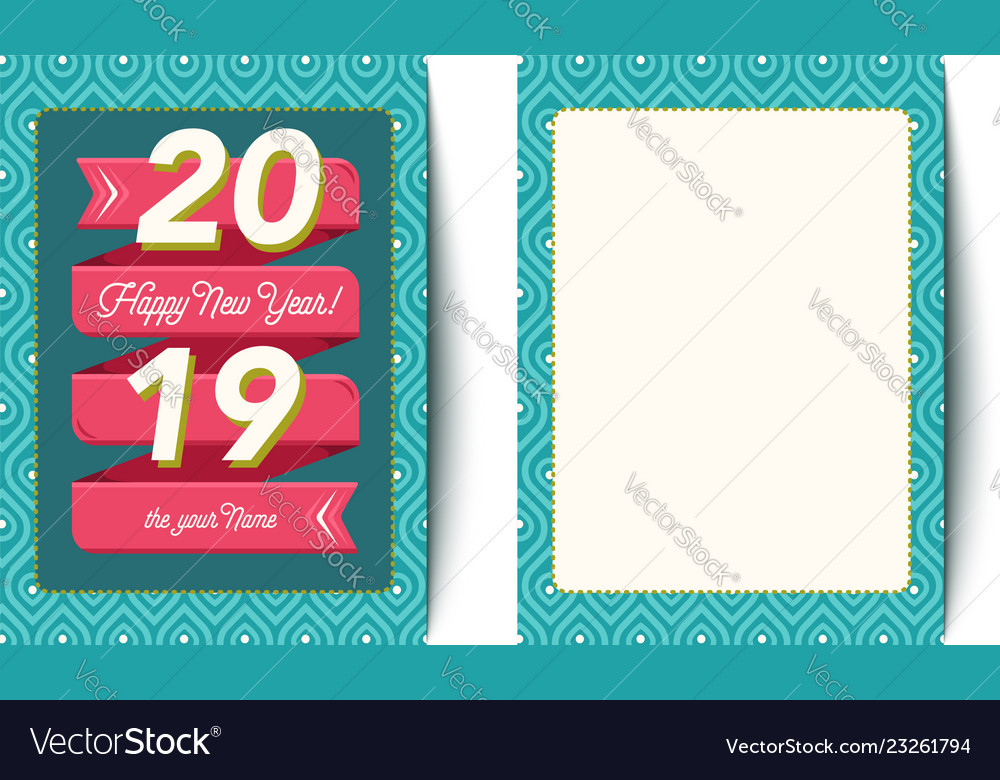 Retro card for new year 2019