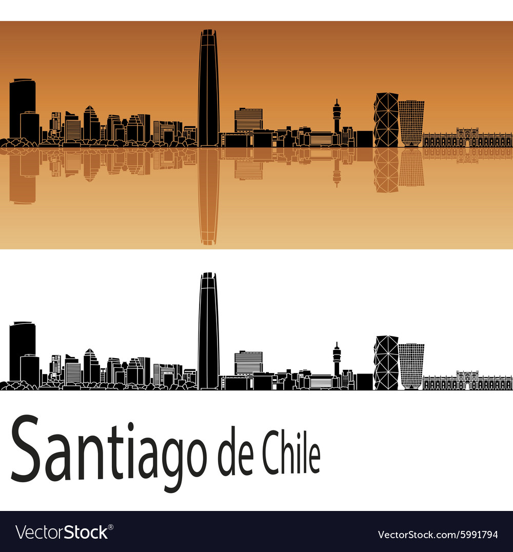 Santiago de Chile skyline in orange