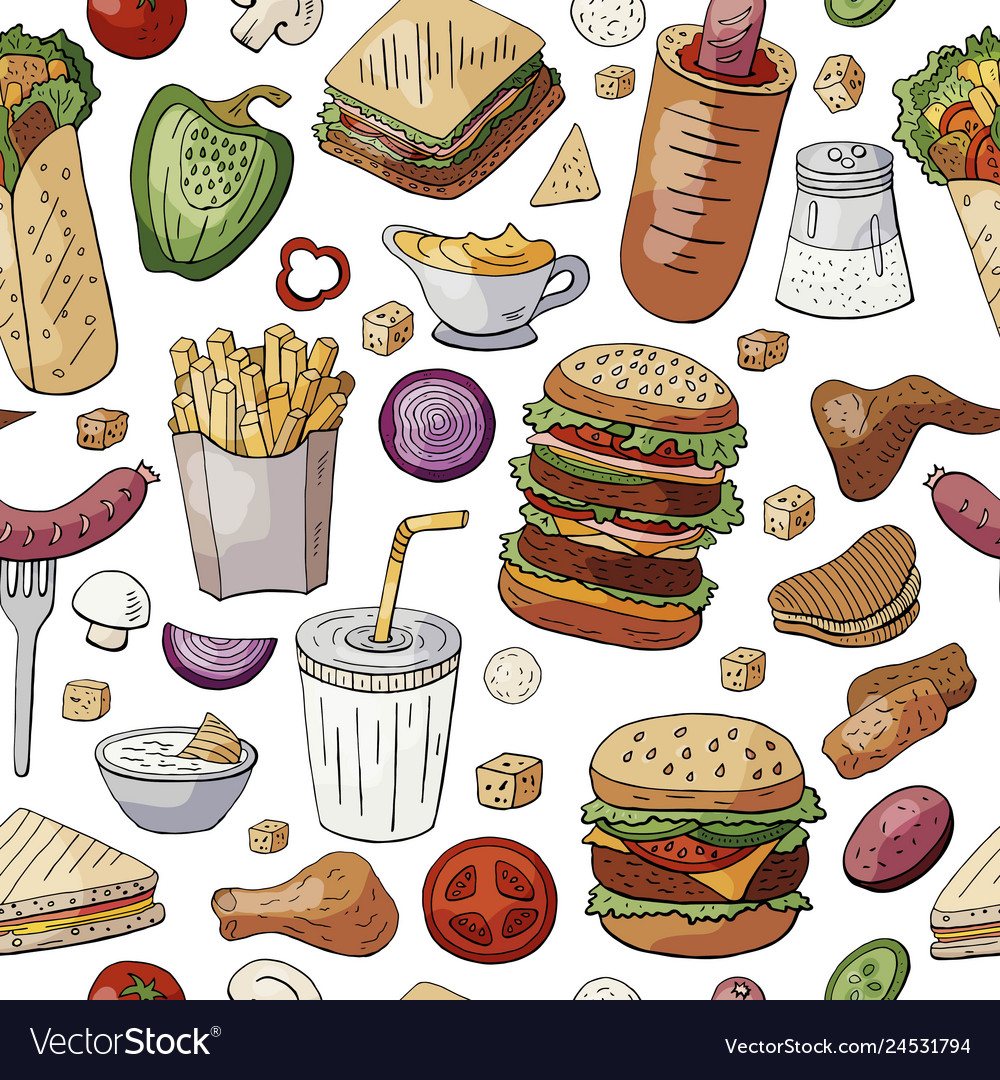 Seamless pattern with famous fast food and drinks