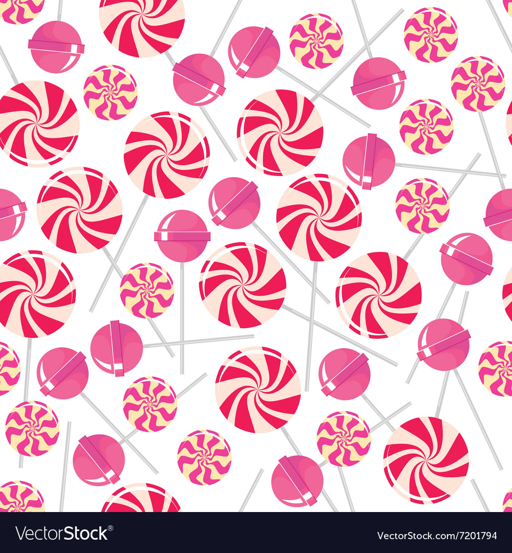 Seamless pattern with pink lollipops