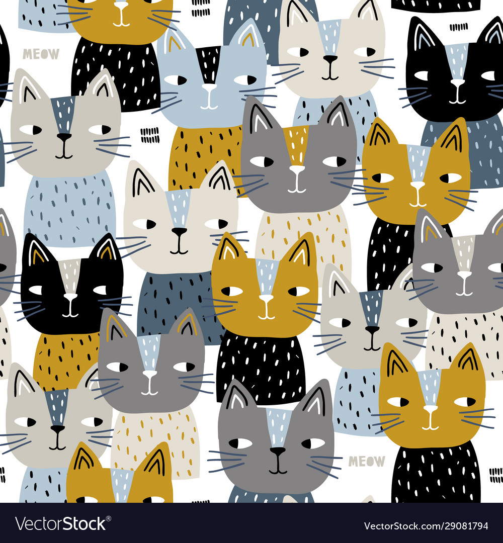 Seamless trendy pattern with cute cats