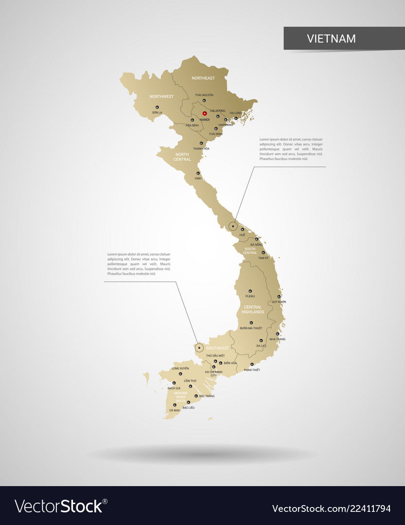 Stylized Vietnam Map Royalty Free Vector Image