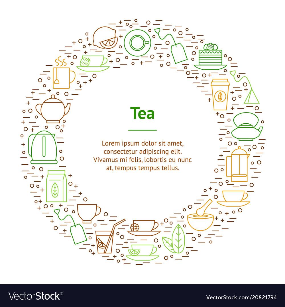Tea related banner card circle