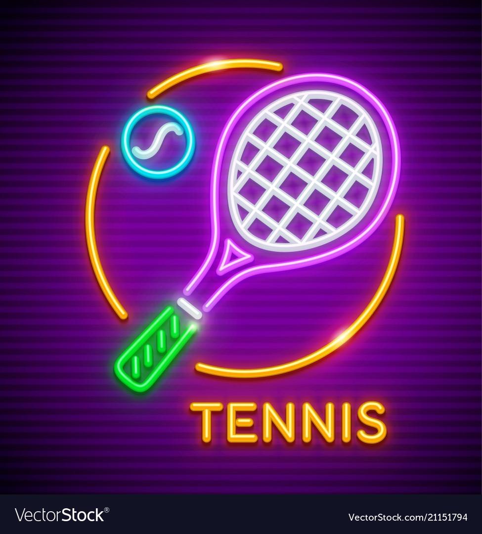 Tennis game neon icon