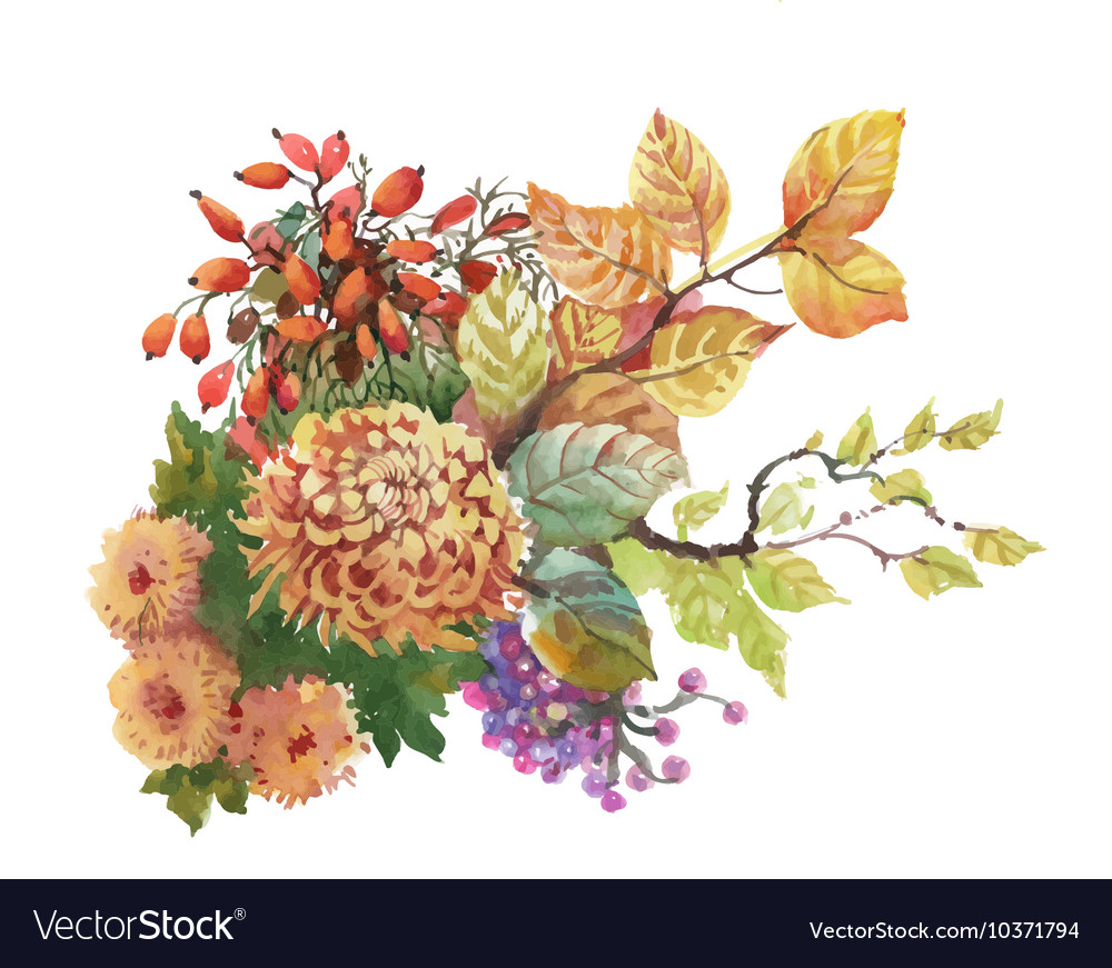 Watercolor autumn background with dogwood and