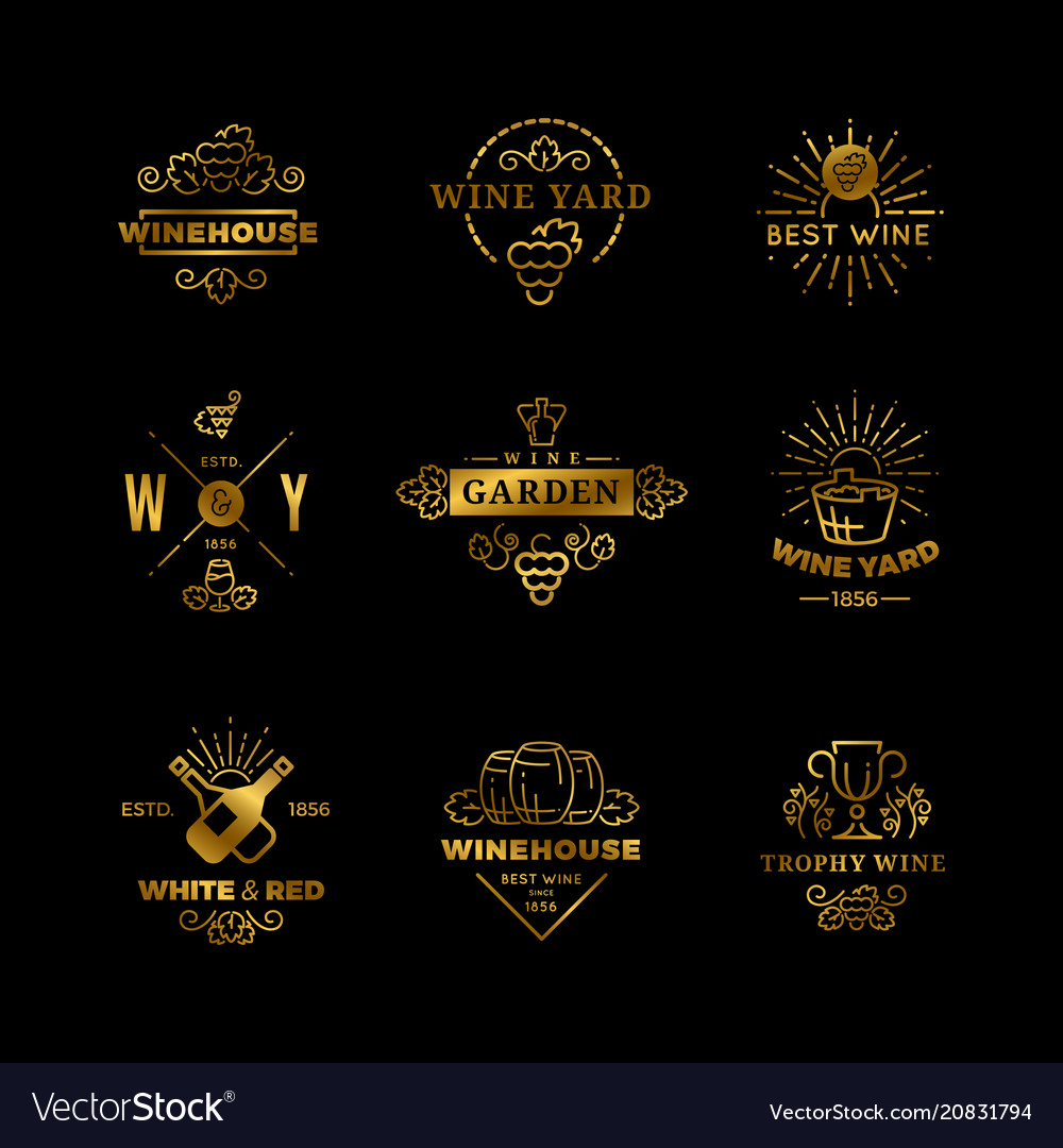 Wine logos and emblems isolated on black