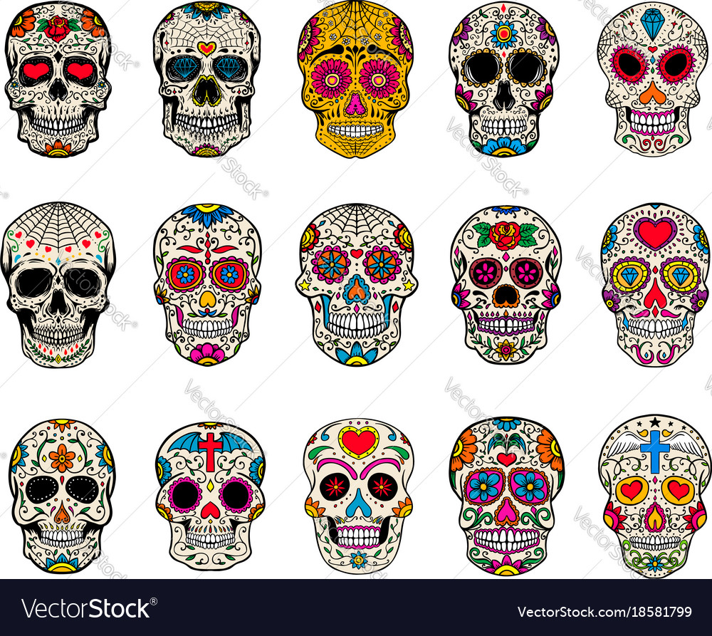 15 Day Of The Dead Sugar Skull Designs Vector Image