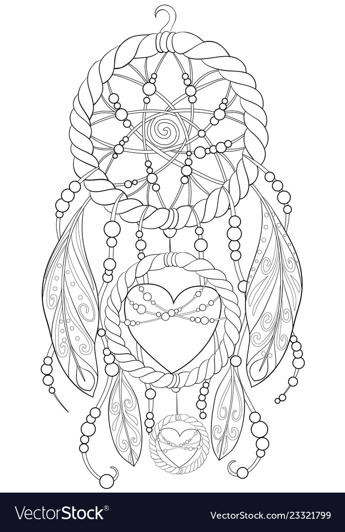 - Adult Coloring Book A Cute Dream Catcher Image Vector Image