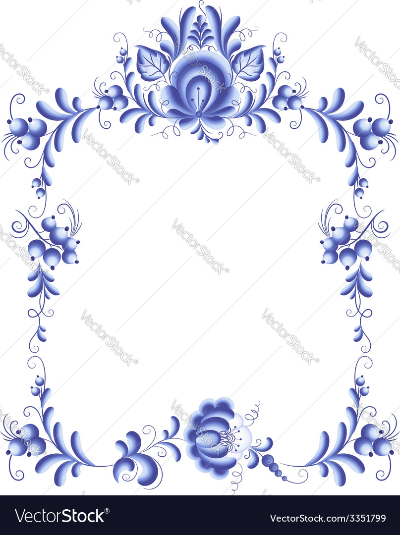 Blue Floral Frame In Gzhel Style Royalty Free Vector Image
