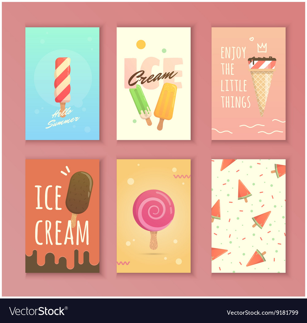 Bright poster with ice cream vector image
