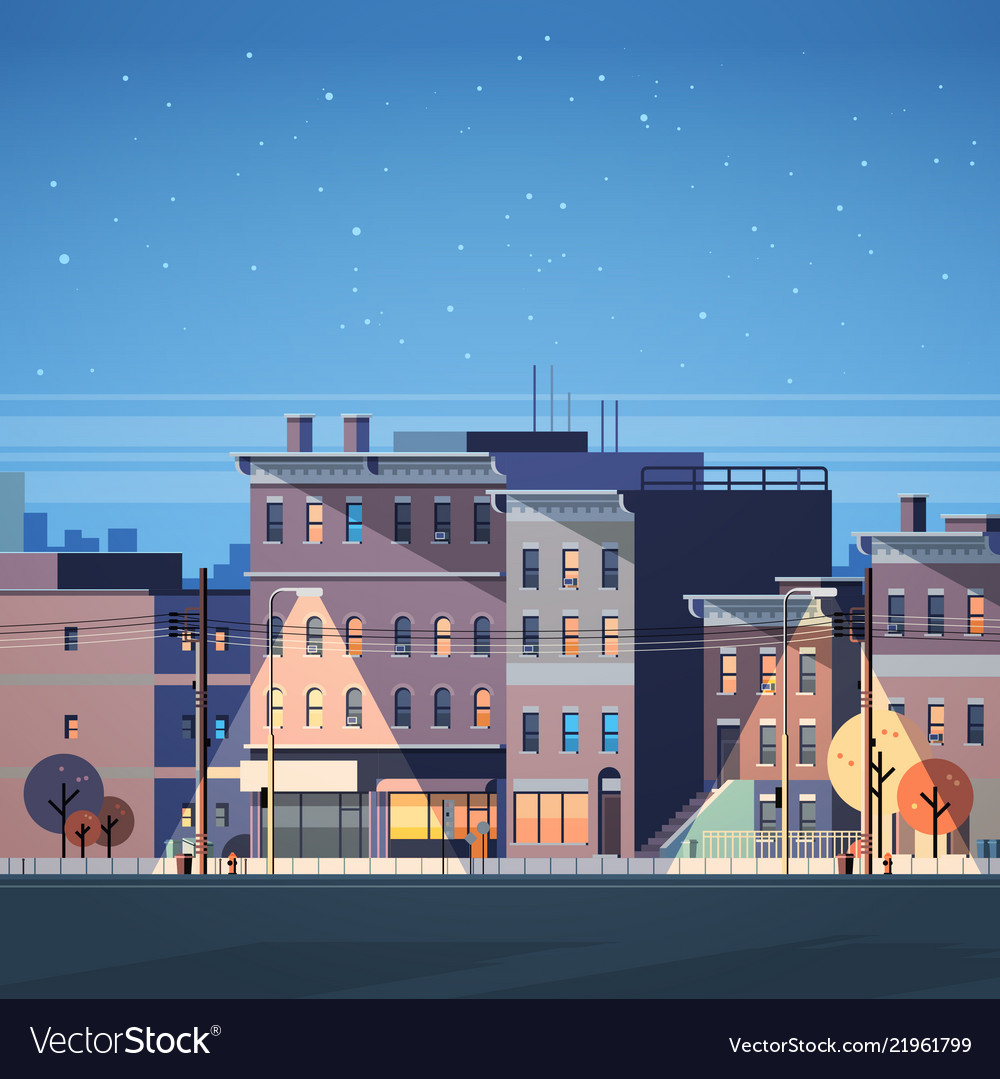 City building houses night view skyline background